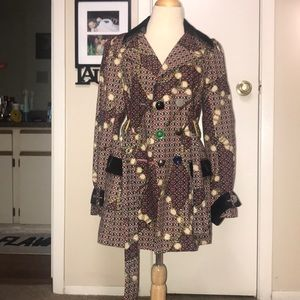 Ivy Jane colorful patterned/button trench coat